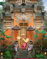Balinese Dancer Wearing Traditional Garb Near Palace Doors in Ubud, Bali, Indonesia Fine Art Print