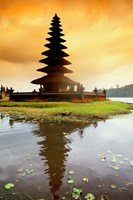 Religious Ulur Danu Temple in Lake Bratan, Bali, Indonesia Fine Art Print