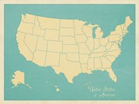 USA Map (blue) Fine Art Print