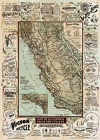 Map of California Roads for Cyclers, 1896 Fine Art Print