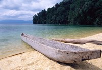 Beached Canoe on Lake Poso, Sulawesi, Indonesia Fine Art Print