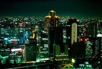 Aerial View of Downtown Skyline, Osaka, Japan Fine Art Print