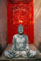 Buddha at Ornate Red Door, Ubud, Bali, Indonesia Framed Print