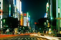Expensive Shopping District with Night Traffic, Ginza Area, Tokyo, Japan by Bill Bachmann - various sizes