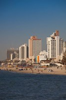 Israel, Tel Aviv, beachfront hotels, late afternoon Fine Art Print