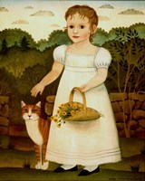 Girl with Cat Fine Art Print