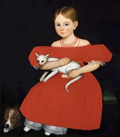Girl in Red Dress with Cat and Dog, 1830-1835 Fine Art Print