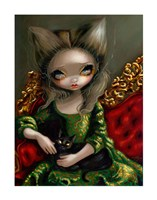 Princess with a Black Cat Fine Art Print