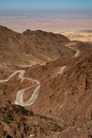 Jordan, Winding highway from Wadi Musa to Wadi Araba Fine Art Print