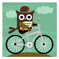 Owl and Hedgehog on Bicycle Fine Art Print