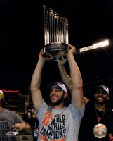 Madison Bumgarner with the World Series Championship Trophy Game 7 of the 2014 World Series Fine Art Print