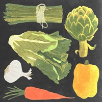 Blackboard Veggies IV Fine Art Print