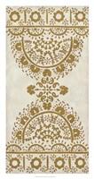 """Ochre Embroidery I by Chariklia Zarris - 17"""" x 32"""""""
