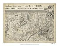 "Map of London Grid II - 18"" x 14"""