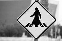 Qatar, Ad Dawhah, Doha. Arabian Pedestrian Crossing Sign / Al-Corniche Street Fine Art Print