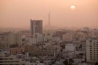 Qatar, Ad Dawhah, Doha. Aerial View of Dowtown / Sunset Fine Art Print