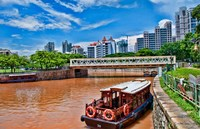 Singapore skyline and tug boats on river. Fine Art Print
