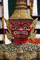 One of six pairs of guardian demons flanking entrance to the Gallery or Phra Rabieng, Wat Phra Kaeo, Bangkok, Thailand Fine Art Print