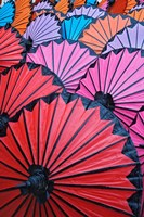 Pattern of newly assembled decorative umbrellas drying in sun, Umbrella Making Center, Bo Sang, near Chiang Mai, Thailand. by Adam Jones - various sizes