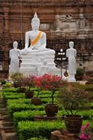 White Buddha, Wat Yai Chaya Mongkol or The Great Temple of Auspicious Victory, Ayutthaya, Thailand by Adam Jones - various sizes