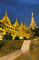 Asia, Myanmar, Yangon. Shwedagon Pagoda at night. Fine Art Print