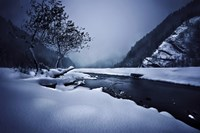 Small river in the misty, snowy mountains of Ritsa Nature Reserve by Evgeny Kuklev - various sizes - $47.49