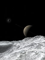 Saturn and Enceladus as seen from the moon Tethys Fine Art Print