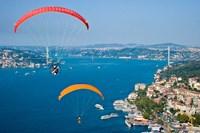 Paragliding, Extreme sport, Bosphorus, Istanbul, Turkey Fine Art Print