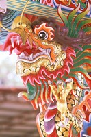 Thailand, Bangkok Dragon in chinese temple Fine Art Print