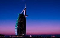 Sunset at the Burj Al Arab, Dubai, United Arab Emirates Fine Art Print
