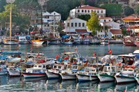 Old Harbor and boats in reflection Antalya, Turkey Fine Art Print