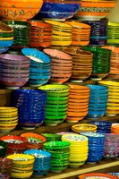 Bowls and Plates on Display, For Sale at Vendors Booth, Spice Market, Istanbul, Turkey Fine Art Print