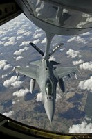 Chilean Air Force F-16 refuels from a US Air Force KC-135 Stratotanker Fine Art Print