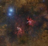 The Cat's Paw and Lobster Nebulae in Scorpius Fine Art Print