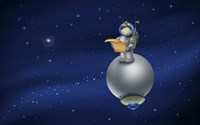 Cartoon Astronaut in Outer Space Fine Art Print