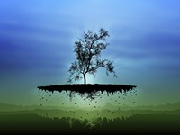 Flying Tree ( digitally generated - blue) Fine Art Print