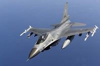 Dutch F-16AM Over the Mediterranean Sea (top view) Fine Art Print