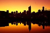 Melbourne CBD and Telstra Dome at Dawn, Victoria, Australia Fine Art Print