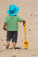 Little Boy and Spade on Beach, Gold Coast, Queensland, Australia by David Wall - various sizes