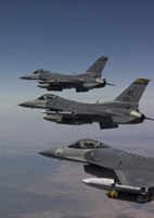 Three F-16's fly in Formation over Arizona (vertical) Fine Art Print