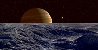 The Gas Giant Jupiter Seen Above the Surface of Jupiter's Moon Europa Fine Art Print