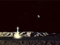 Moonship Lifts Off from the Lunar Hills Fine Art Print