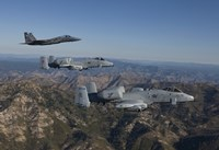 F-15 Eagle and Two A-10 Thunderbolts, Central Idaho Fine Art Print