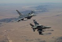 Two F-16's on a training mission over the Arizona desert by HIGH-G Productions - various sizes