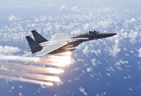 An F-15 Eagle Releases Flares over the Pacific Ocean by HIGH-G Productions - various sizes