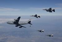 Four F-16's and a KC-135 over Arizona Fine Art Print