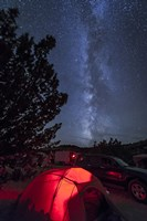 The Milky Way Sets Behind a Glowing Tent, Oklahoma Fine Art Print
