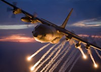 C-130 Hercules Releases Flares Fine Art Print