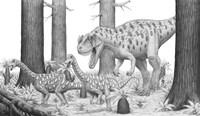 Ceratosaurus Chasing Young Apatosaurus Dinosaurs Fine Art Print