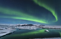 Northern Lights over the Glacier Lagoon in Iceland Fine Art Print
